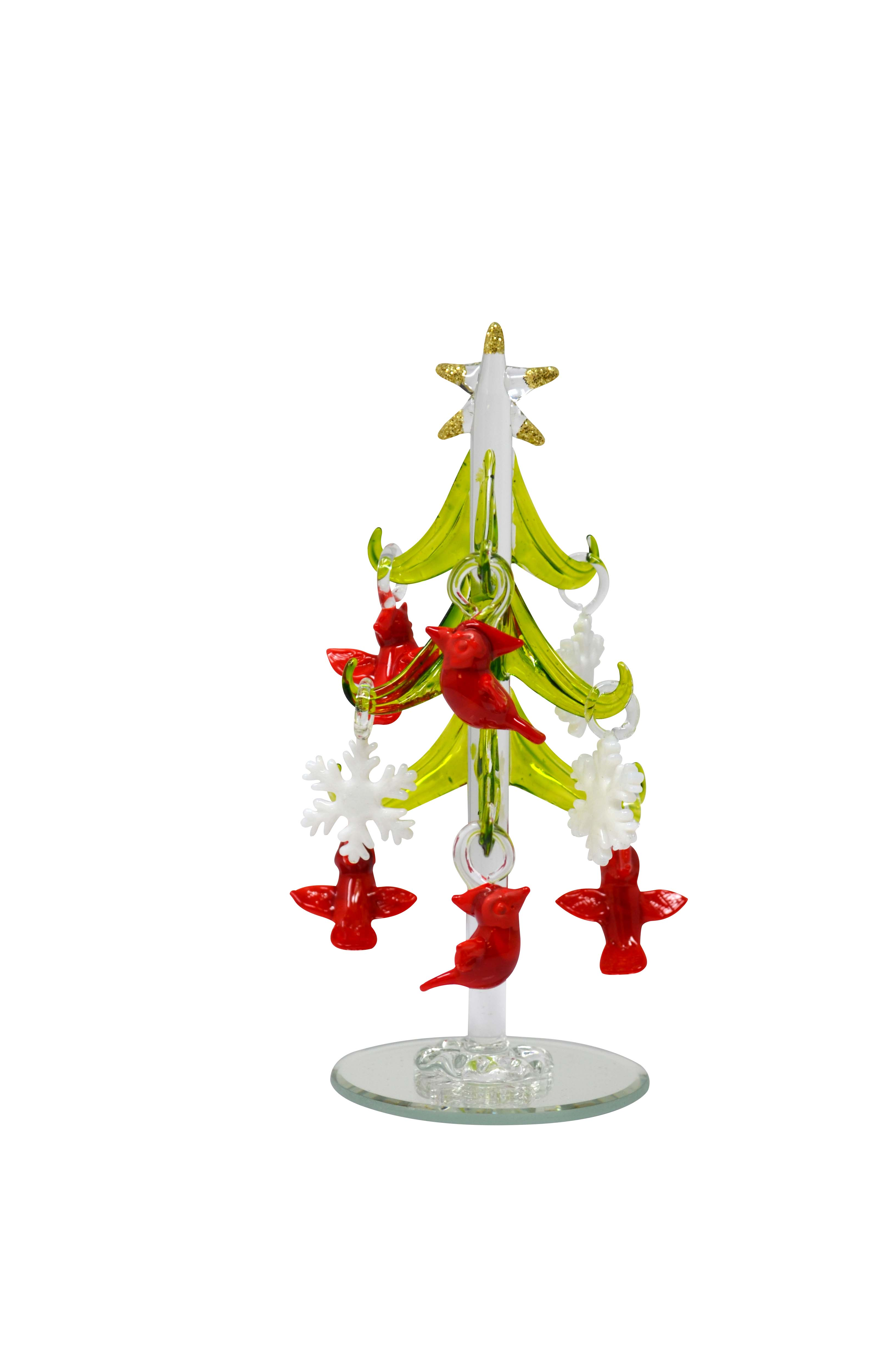 Tree - Green - with 9 ornaments Cardinal & Snowflake 6 inch GB