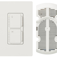 Lutron Maestro MA-LFQHW-WH Fan Light Switch With Wall Plate, 120 V, 1.5 A, 300 W, 1 P, White