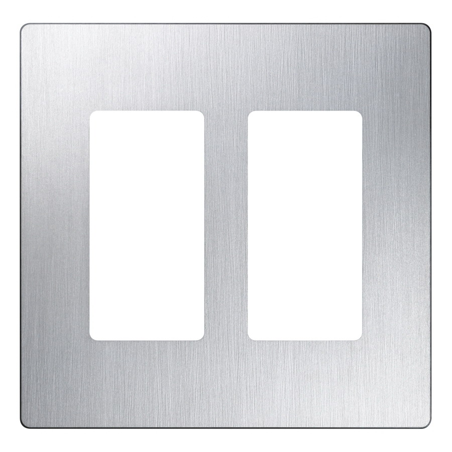Lutron Claro Screwless Wall Plate, 2 Gang, Stainless Steel, Gloss