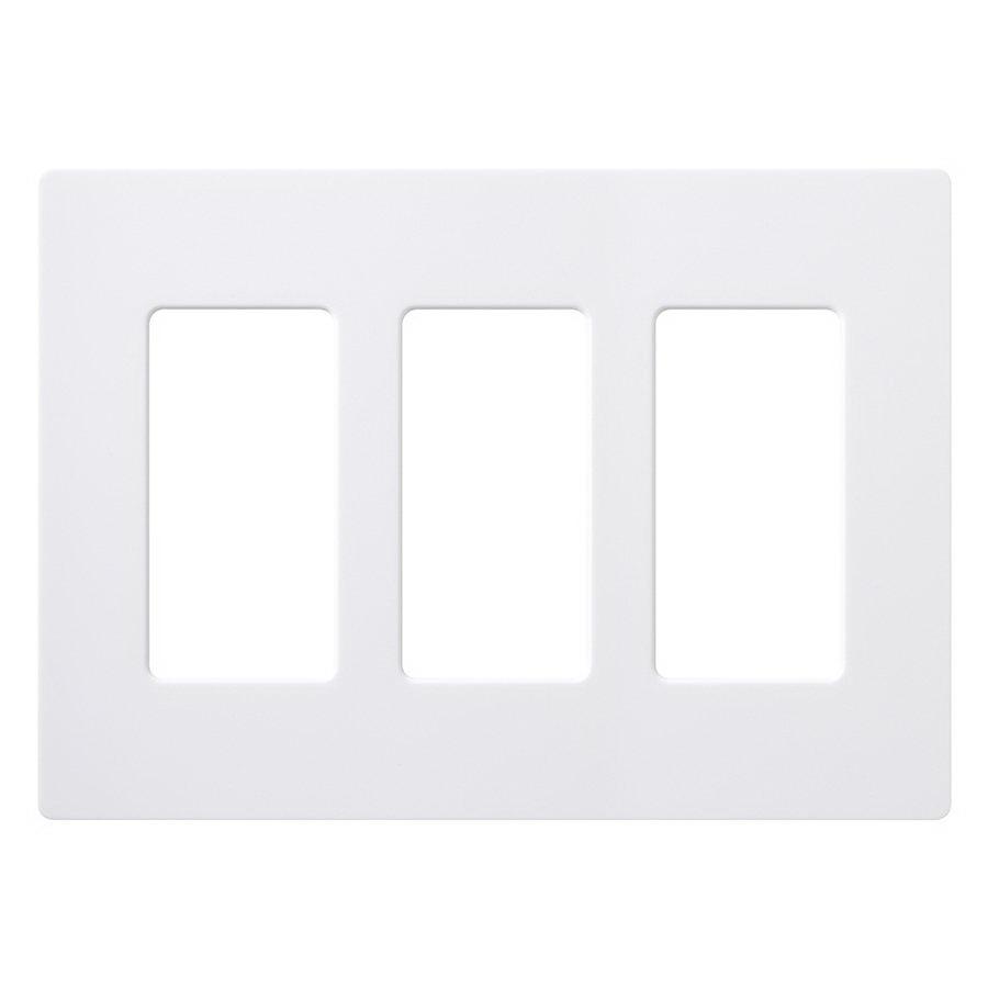 Lutron Claro Screwless Wall Plate, 3 Gang, White, Gloss