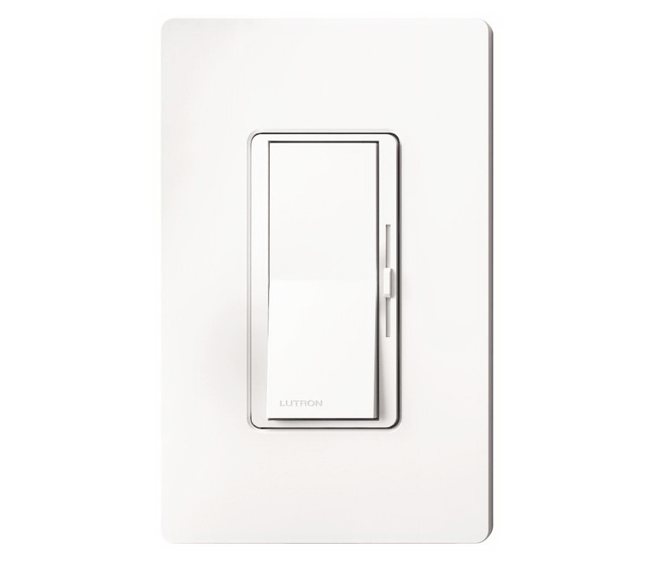 Lutron Diva CL Series Slide Dimmer, 120 VAC, 600 W, 1 P, 3 Way, White