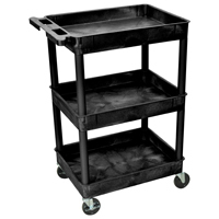 Luxor/ H Wilson STC111-B Multi-Purpose Utility Tub Cart, 300 lb, Thermoplastic Resin/Polyurethane/HDPE, Black