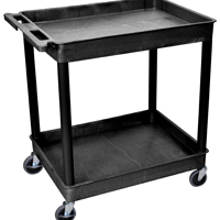 Luxor/ H Wilson TC11-B Multi-Purpose Large Tub Cart, 400 lb, Thermoplastic Resin/Polyurethane/HDPE, Black