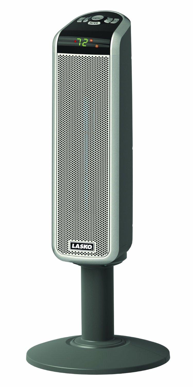 30? Digital Space-Saving Ceramic Pedestal Heater with Digital Remote, Gey