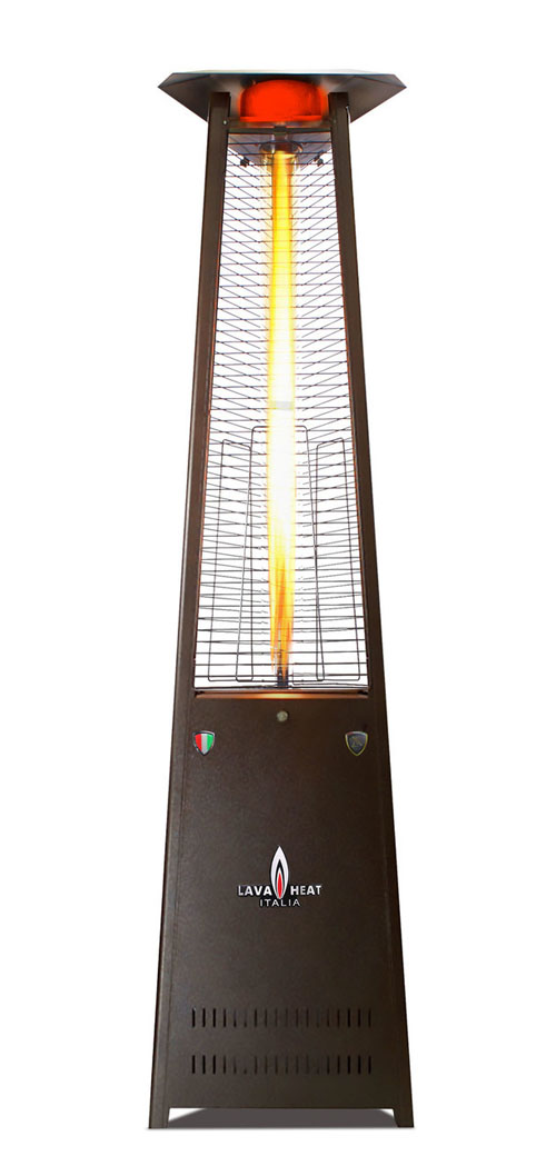 The Lava Heat Italia A-Line 8 foot Commercial Flame Tower Heater, Manual Ignition, Hammered Black Finish, Liquid Propane
