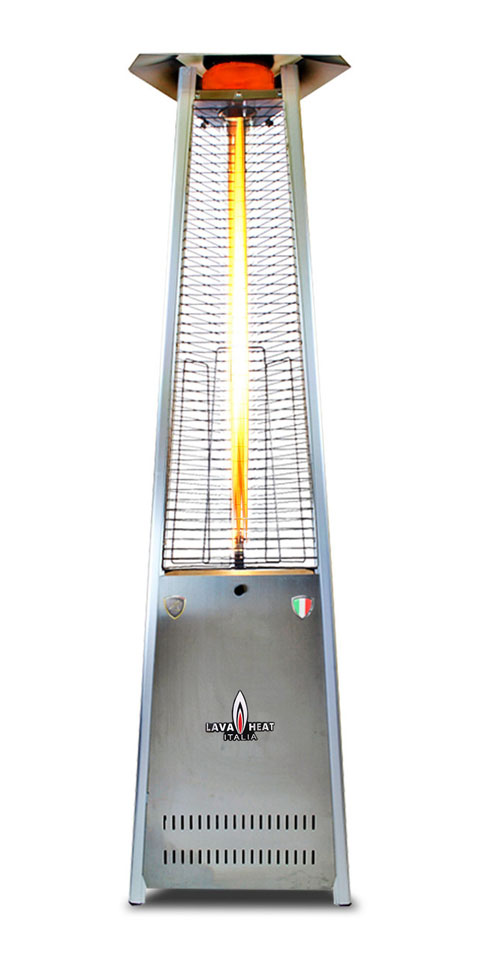 The Lava Heat Italia A-Line 8 foot Commercial Flame Tower Heater, Electronic Ignition, Stainless Steel Finish, Natural Gas