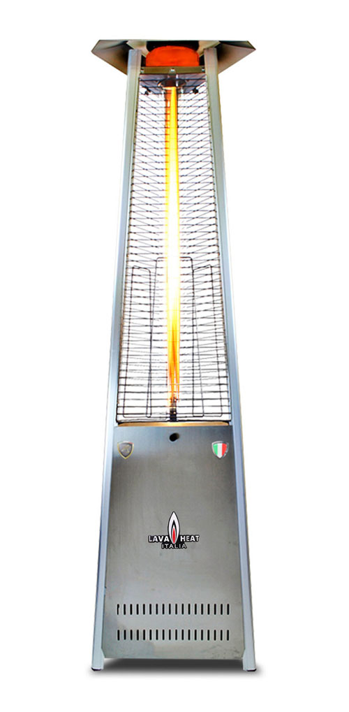 The Lava Heat Italia A-Line 8 foot Commercial Flame Tower Heater, Electronic Ignition, Stainless Steel Finish, Liquid Propane
