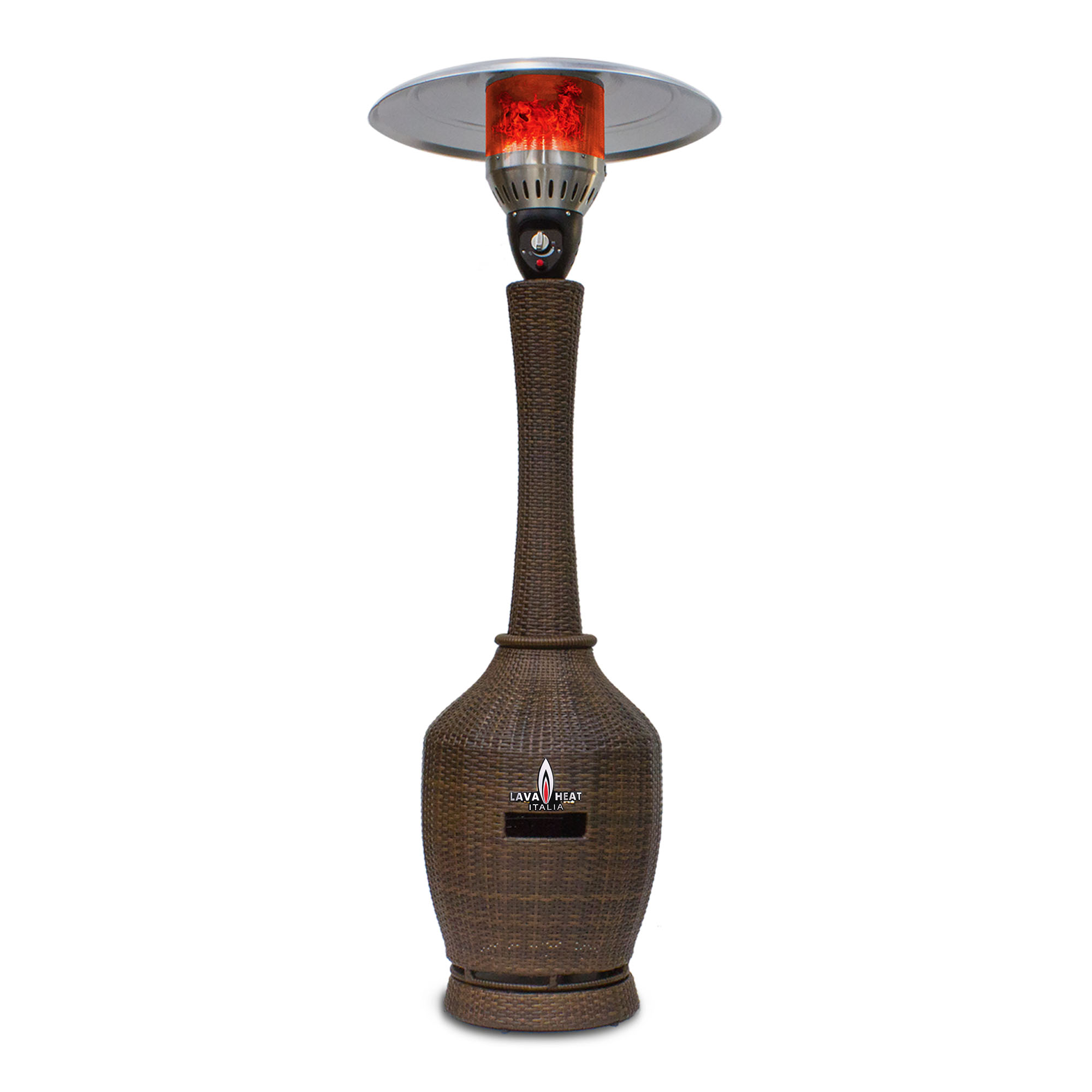 The Lava Heat Italia T-Line 7 Foot Commercial Umbrella Heater, Manual Ignition, Wicker Bronze Finish, Natural Gas