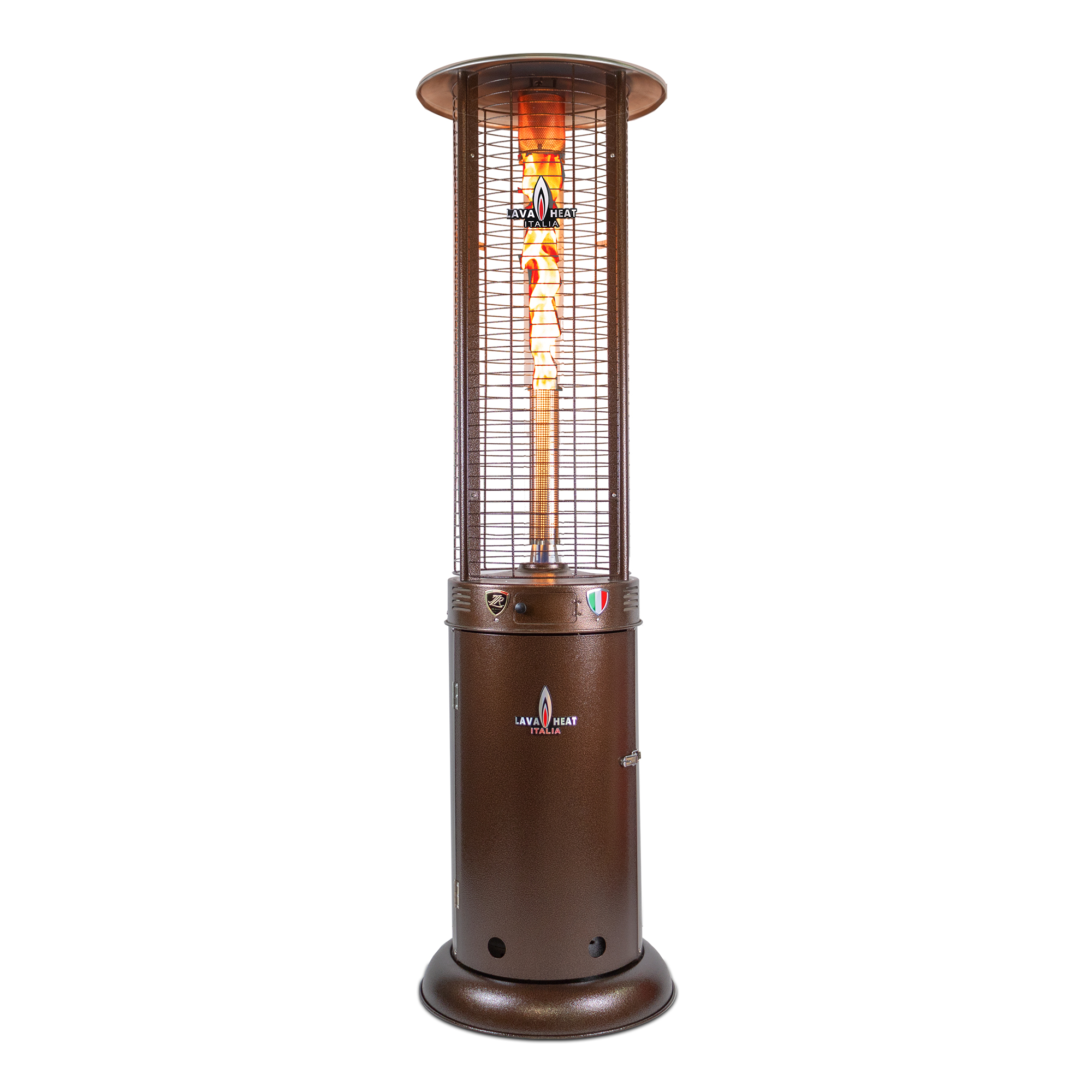 The Lava Heat Italia R-Line 7 Foot Commercial Flame Tower Heater, Manual Ignition, Heritage Bronze Finish, Natural Gas