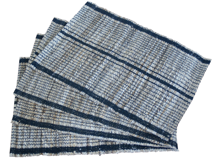 Leaf & Fiber Hand Made, All Natural, Sustainable & Eco-Friendly Banana Rope Stripped Placemats, Set of 4