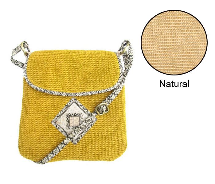Leaf & Fiber 'Rummy' Eco-Friendly Designer Cross-Body Bag - Natural