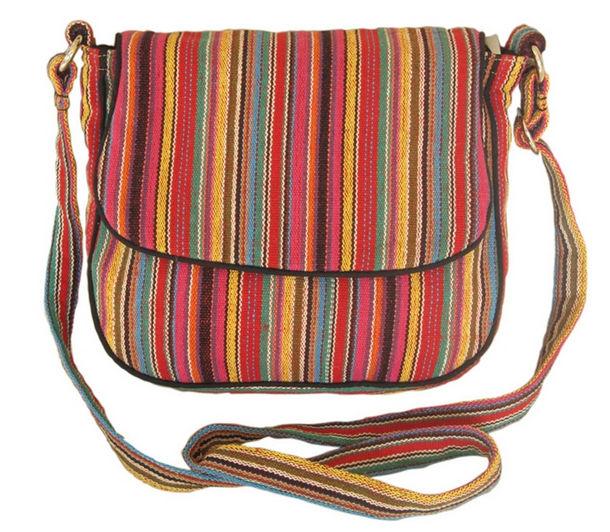 Leaf & Fiber 'Solara' Eco-Friendly Messenger Bag - Red Stripes