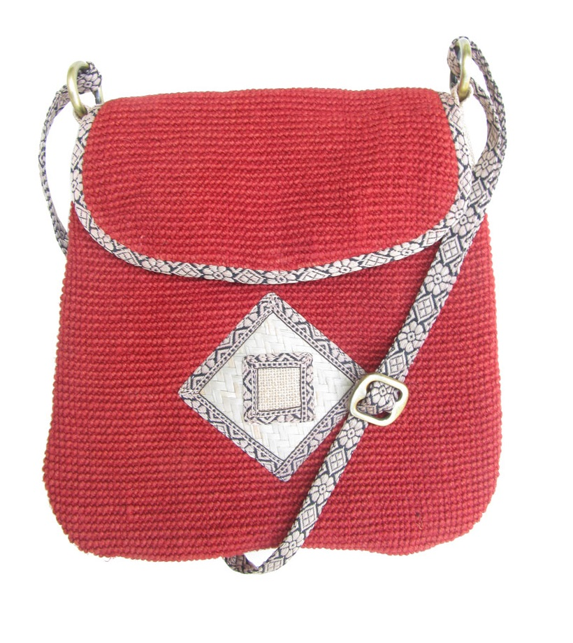 Leaf & Fiber 'Rummy' Eco-Friendly Designer Cross-Body Bag - Brick Red