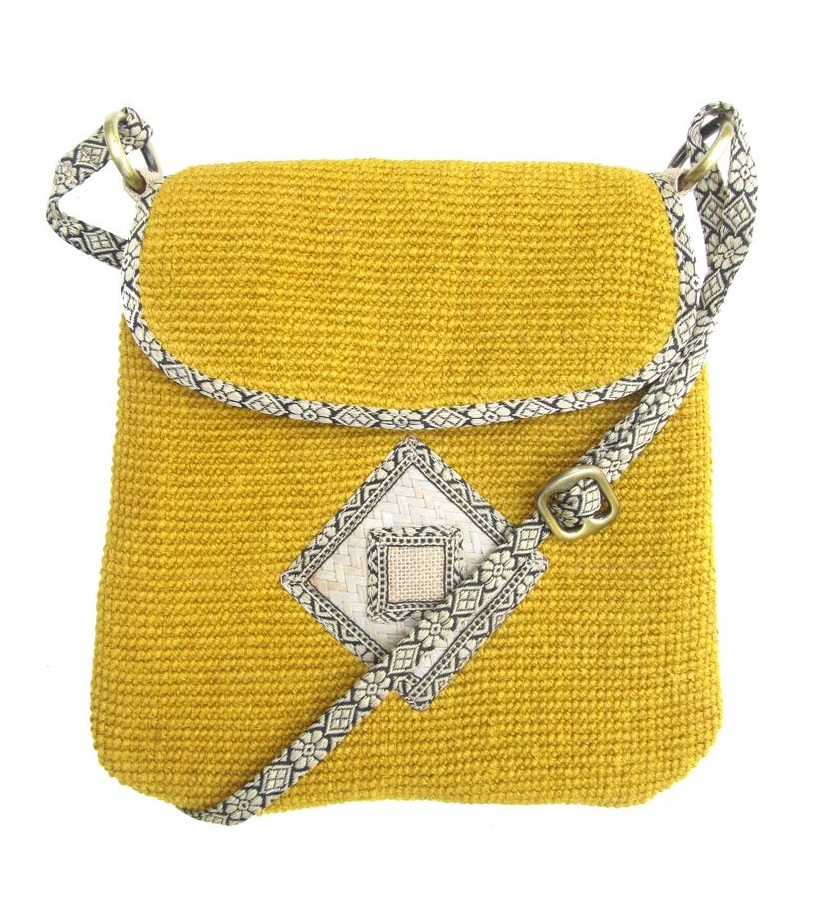 Leaf & Fiber 'Rummy' Eco-Friendly Designer Cross-Body Bag - Honey