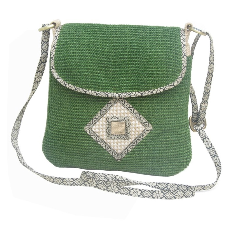 Leaf & Fiber 'Rummy' Eco-Friendly Designer Cross-Body Bag - Olive Green
