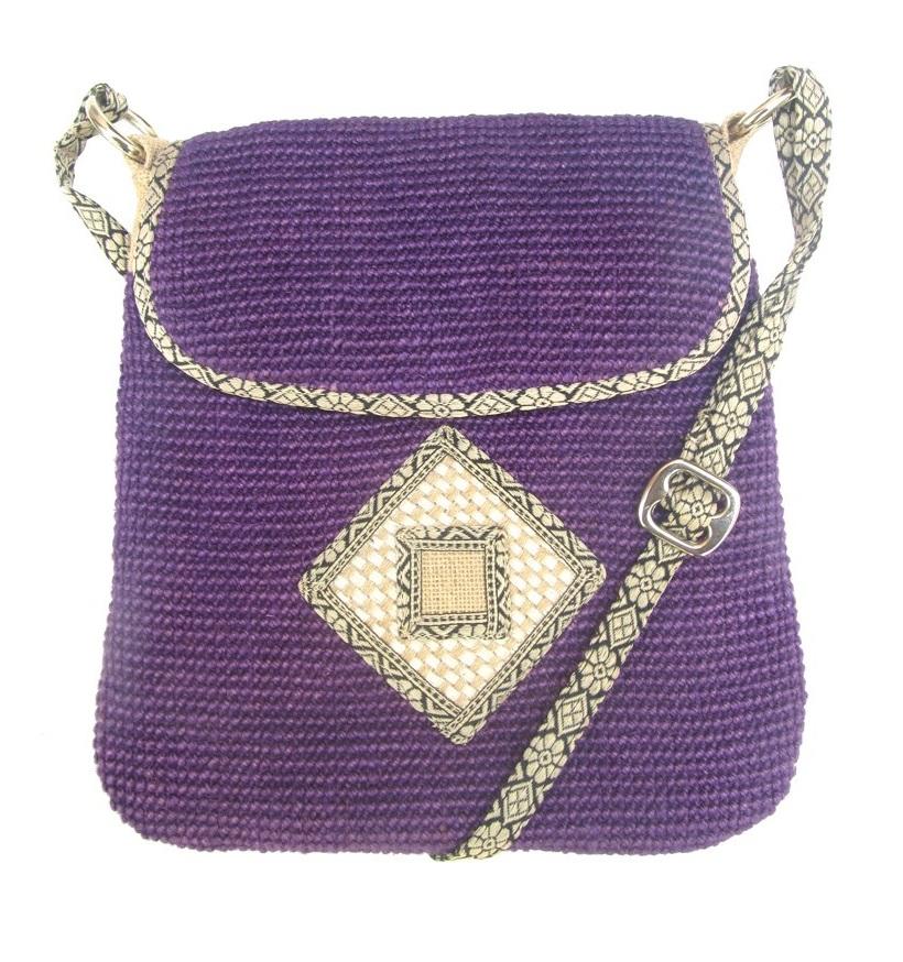 Leaf & Fiber 'Rummy' Eco-Friendly Designer Cross-Body Bag - Purple