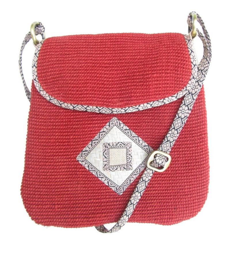 Leaf & Fiber 'Rummy' Eco-Friendly Designer Cross-Body Bag - Red