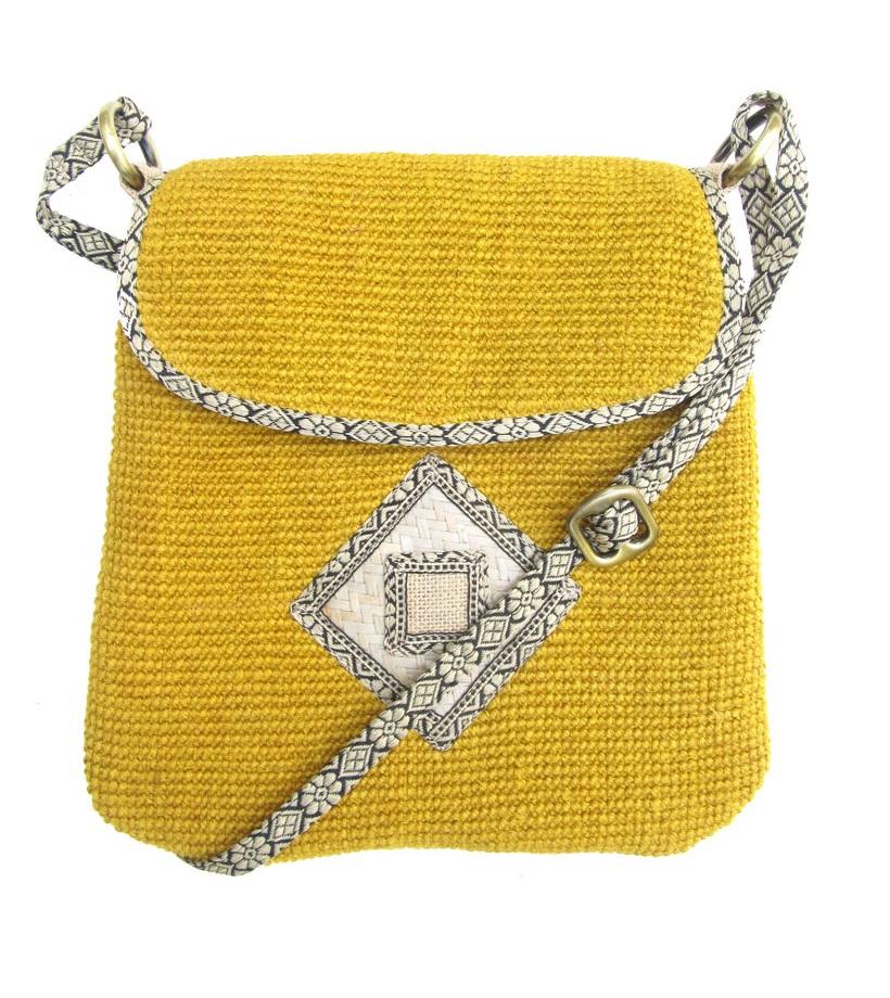 Leaf & Fiber 'Rummy' Eco-Friendly Designer Cross-Body Bag - Yellow