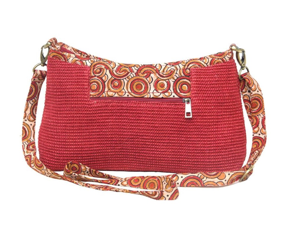 Leaf & Fiber 'Diya' Eco-Friendly Satchel Bag - Red