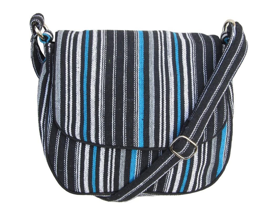 Leaf & Fiber 'Solara' Eco-Friendly Messenger Bag - Blue Stripes