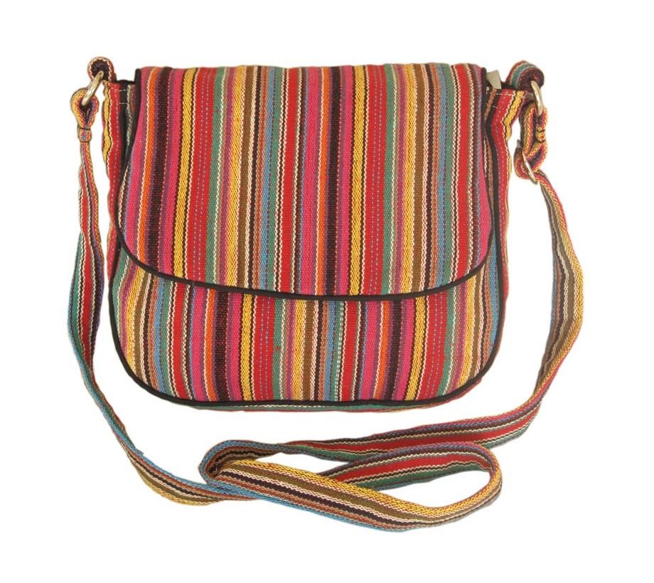 Leaf & Fiber 'Solara' Eco-Friendly Messenger Bag - Pink Stripes