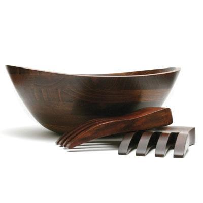 Cherry Finish Large Wavy Bowl