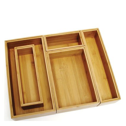 Bamboo 5pc Set of Org. Boxes