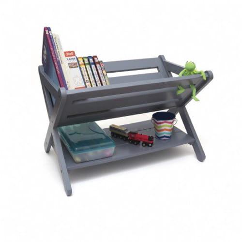 Kid Book Caddy w Shelf Gray