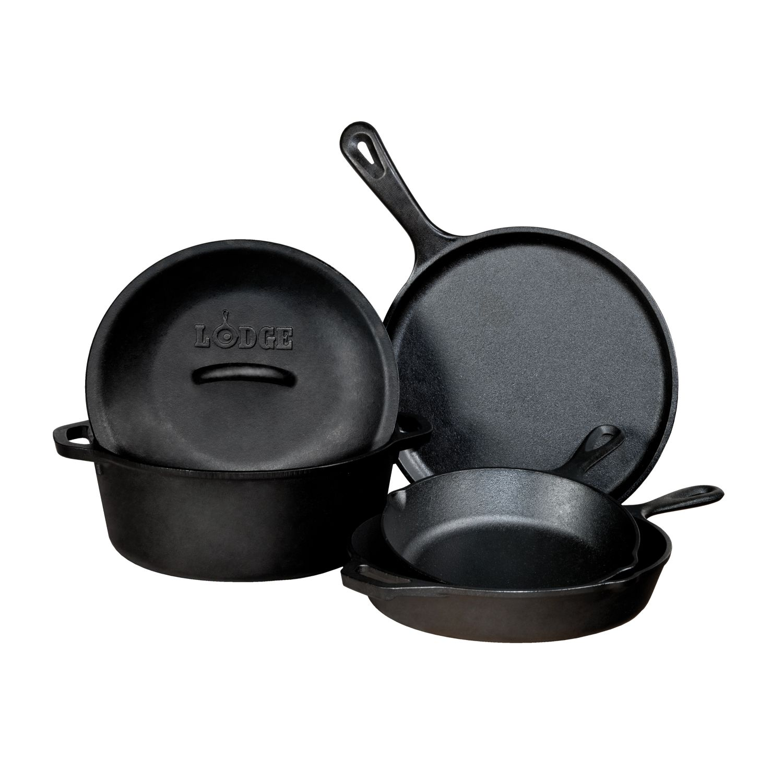 Lodge 5 Piece Seasonsed Cast Iron Cookware Set