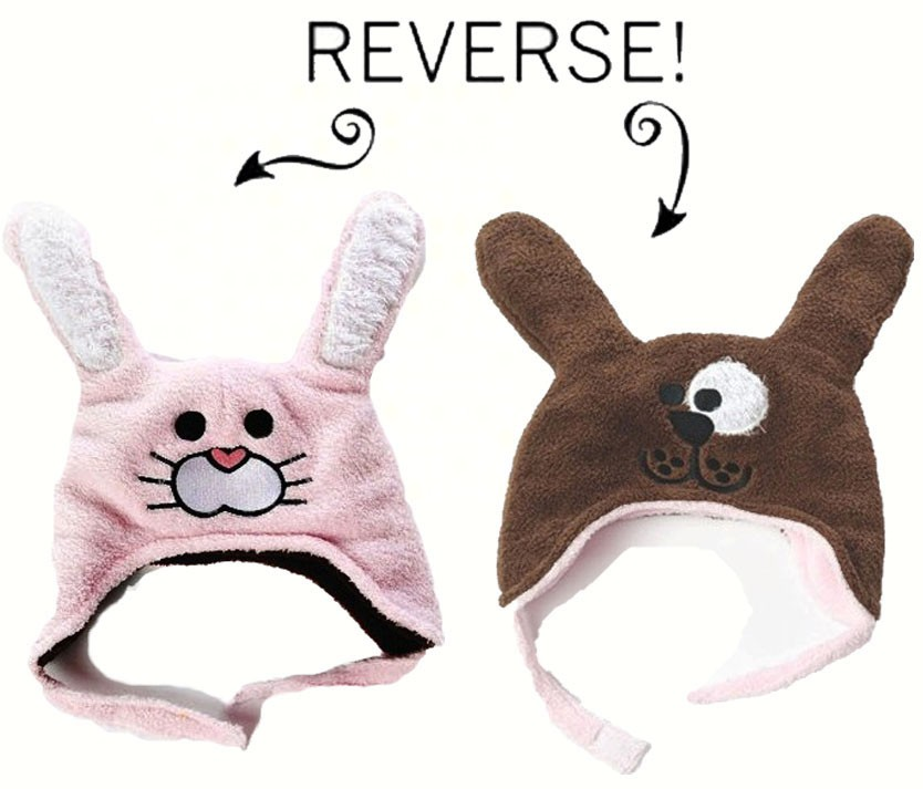Bunny/Puppy Reversible Kid's Winter Hat Large