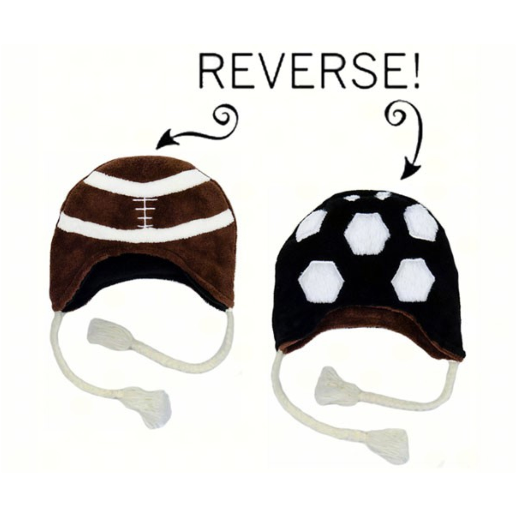 Football/Soccer Reversible Kid's Winter Hat Large
