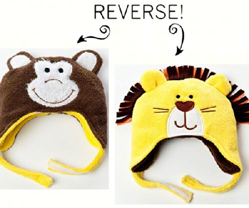 Lion/Monkey Reversible Kid's Winter Hat Large