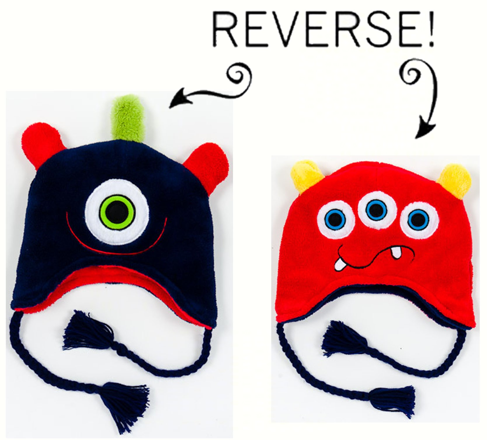 Monsters Reversible Kid's Winter Hat Large