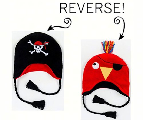 Pirate/Parrot Reversible Kid's Winter Hat Large