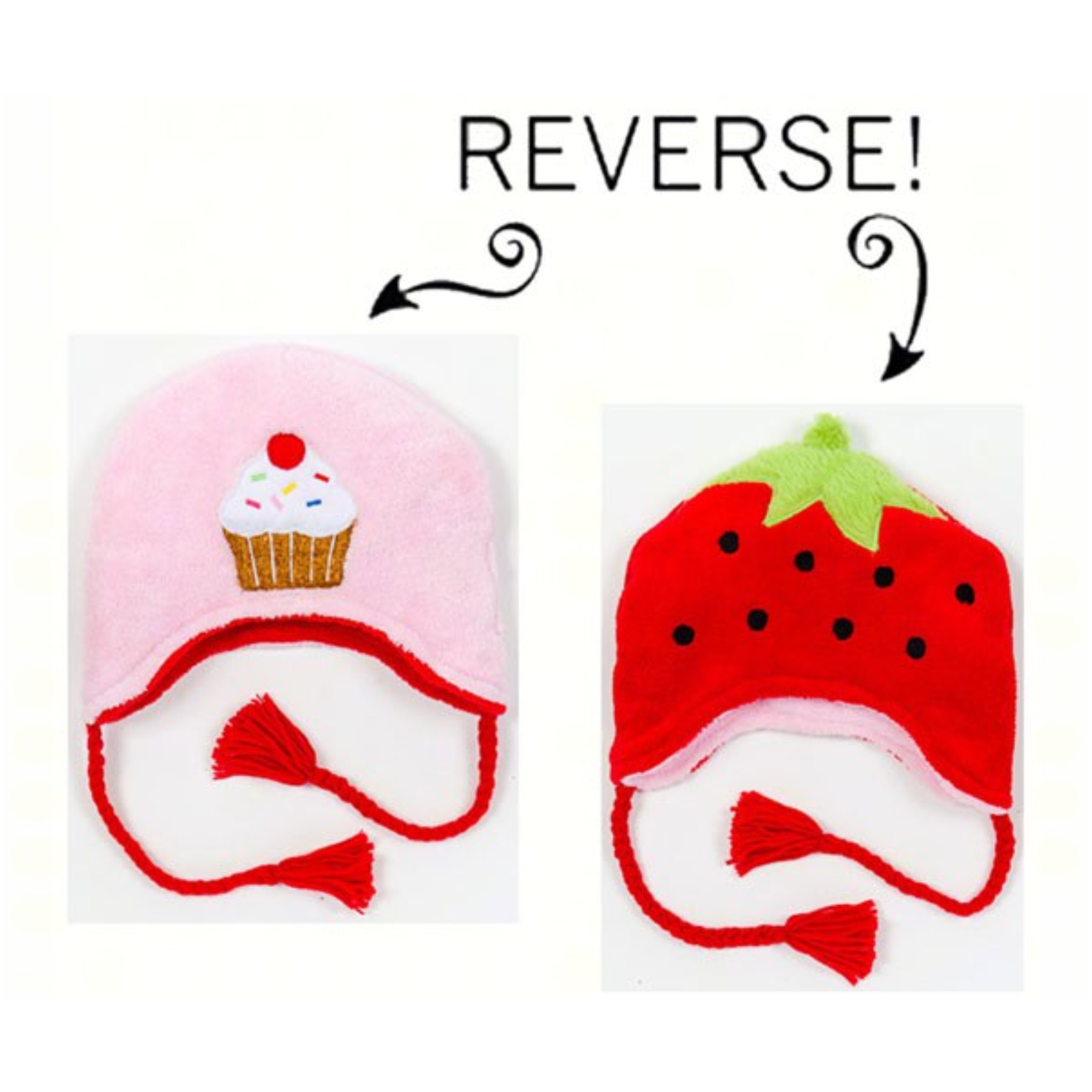 Strawberry/Cupcake Reversible Kid's Winter Hat Large