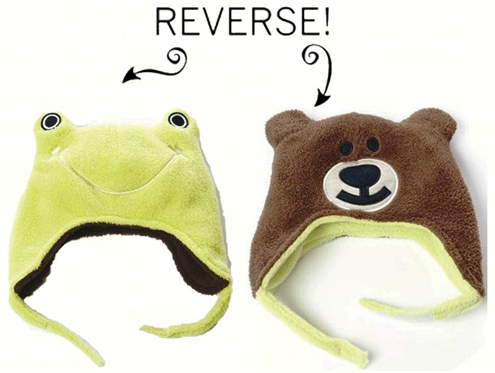 Frog/Bear Reversible Kid's Winter Hat Small