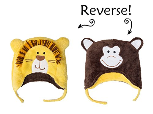 Lion/Monkey Reversible Kid's Winter Hat Small