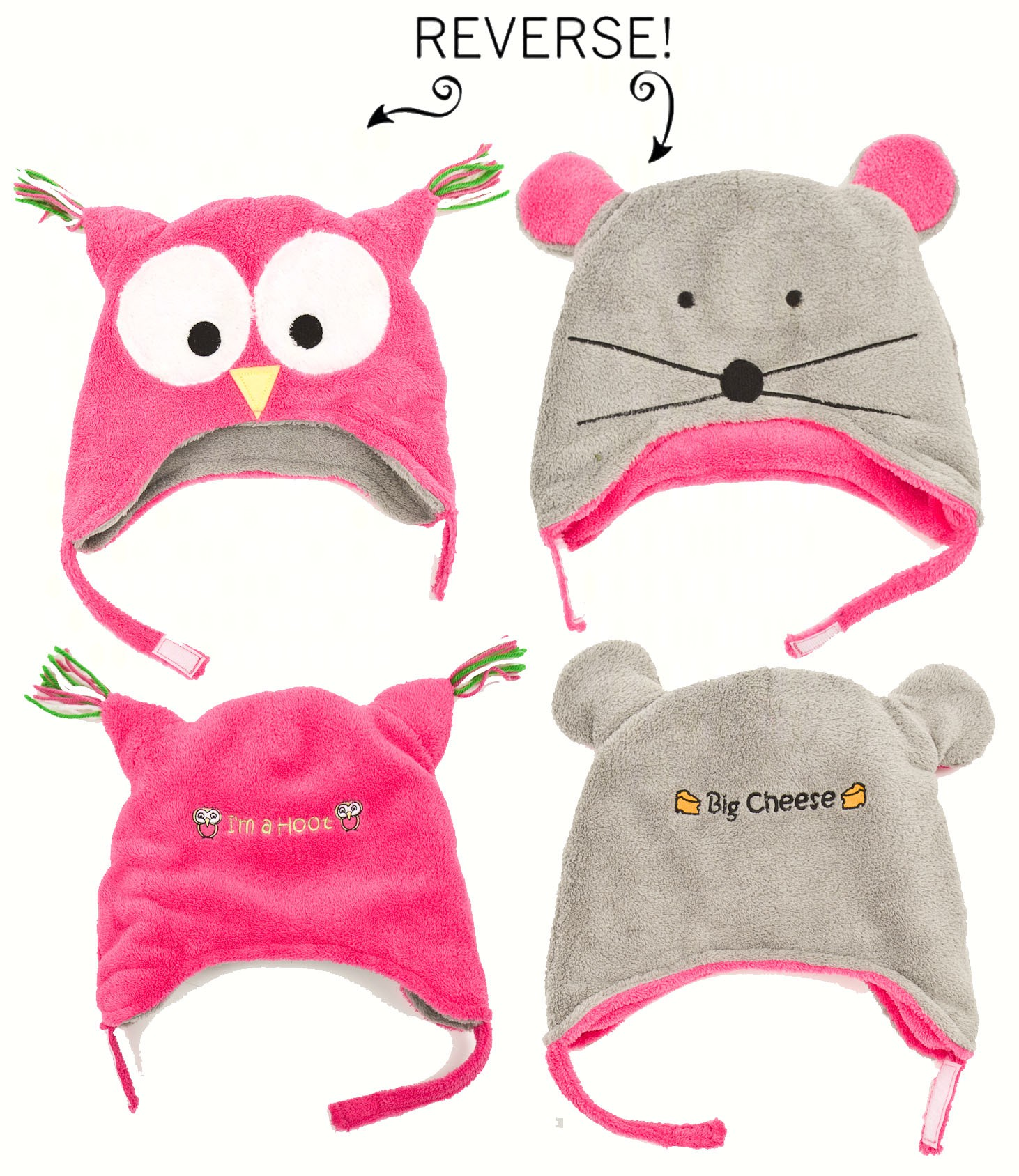 Owl/Mouse Reversible Kid's Winter Hat Small