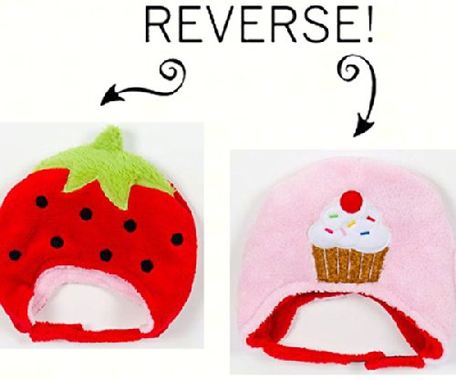 Strawberry/Cupcake Reversible Kid's Winter Hat Small