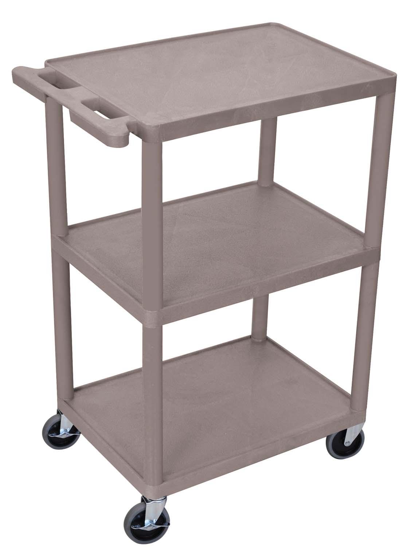 Luxor 3-Shelf Utility Cart - 36 W x 18 D x 39 H - Gray