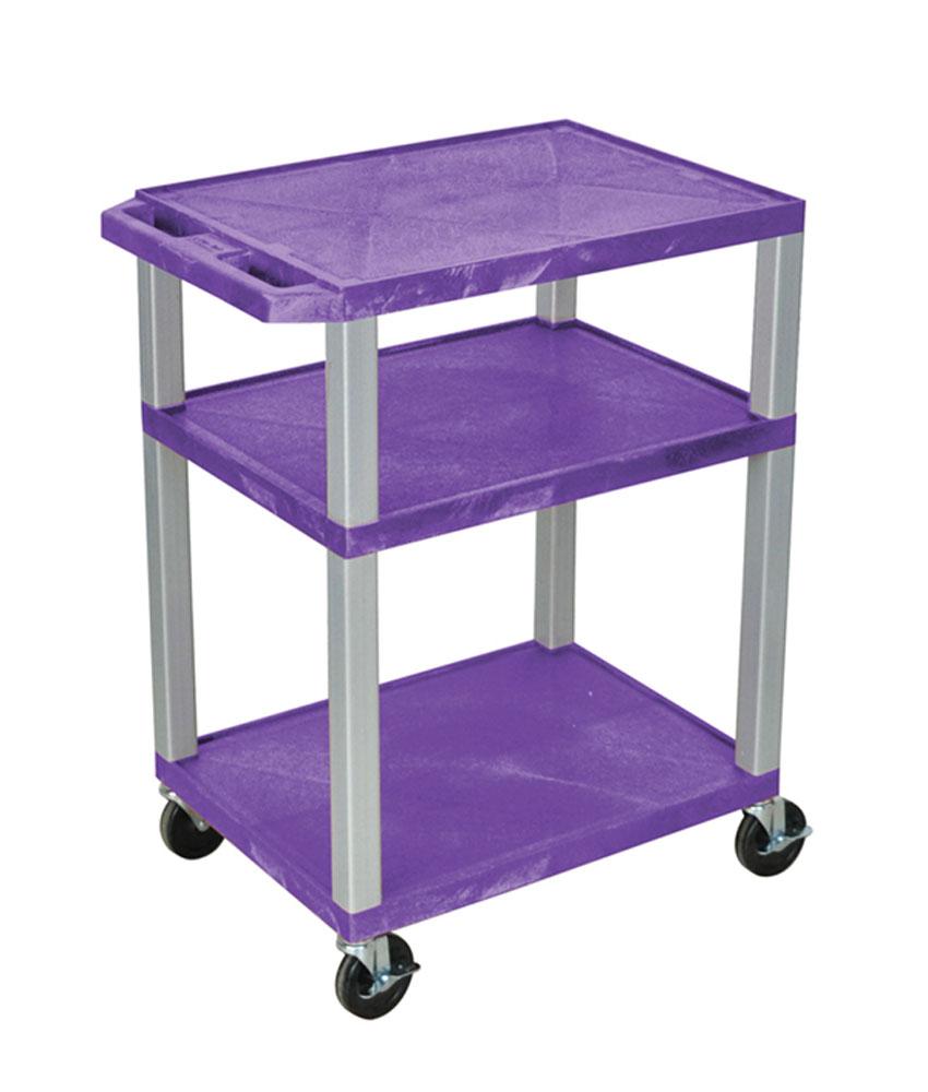 "Luxor Purple Multipurpose Tuffy Cart 34"" with Gray Legs"
