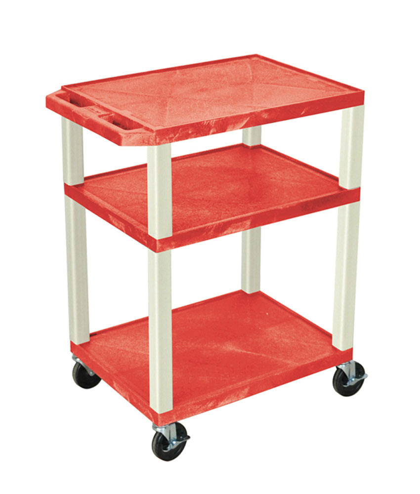 """Luxor Red Multipurpose Tuffy Cart 34"""" with Putty Legs"""
