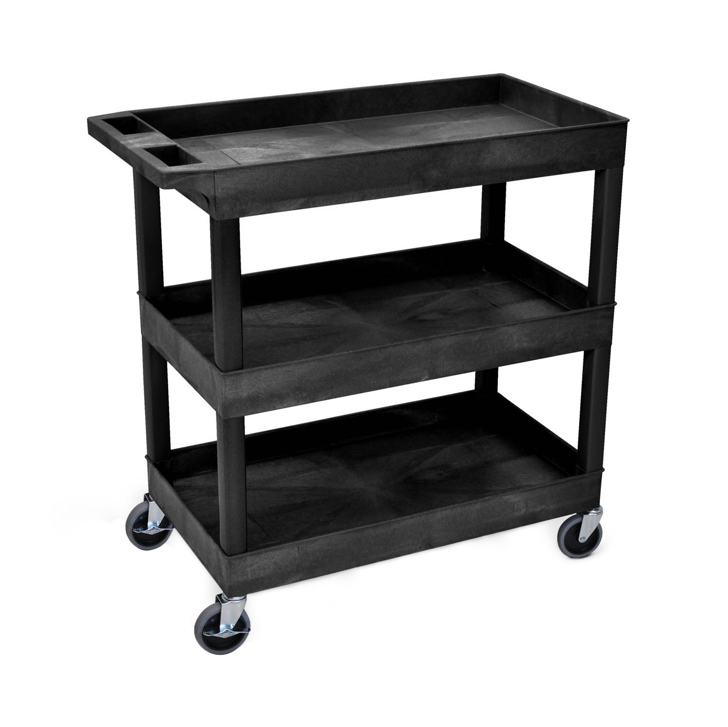 18 x 32 Tub Cart 3 shelves Black