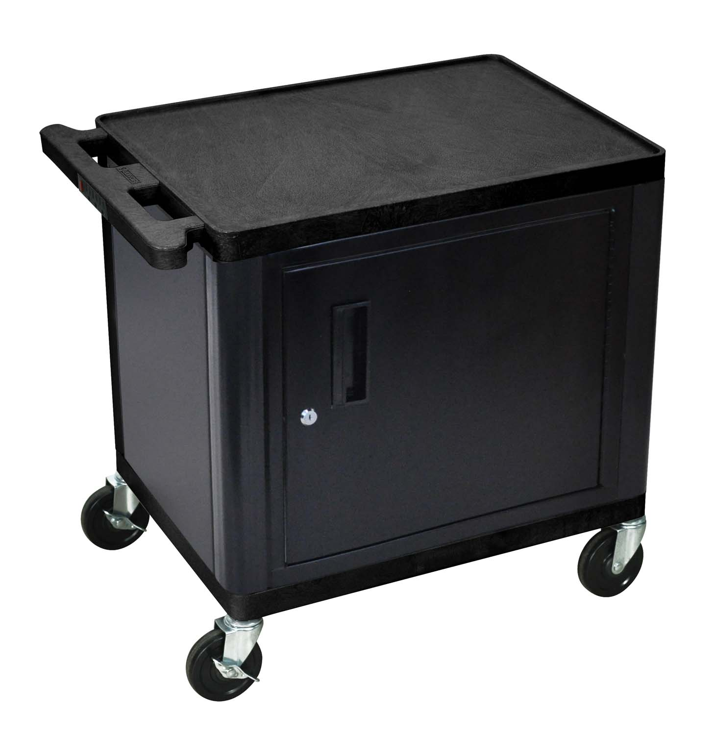 Luxor 2 Shelf Cart with Cabinet and Electric Black