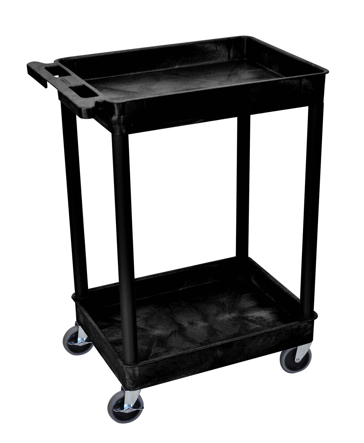 Luxor 2 Shelf Tub Utility Cart BLACK, 3 Pack