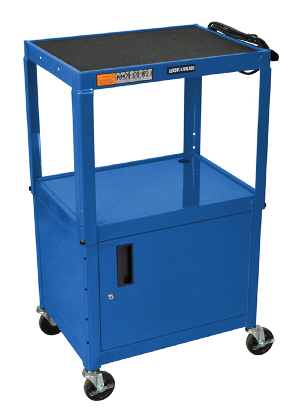 """Luxor Blue 42"""" Adjustable Cabinet Table With 4 Casters"""