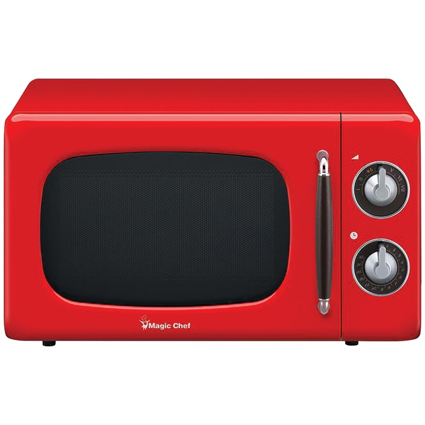 0.7 Cu Ft Retro Countertop Microwave, 700 Watt, Rotary Dial, Timer, 7 Power Levels
