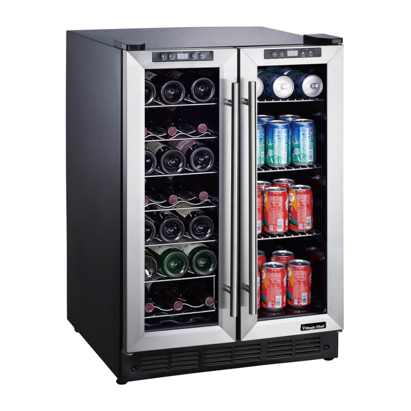 "24"" Wine & Beverage Cooler, French Doors, Dual-Zone Cooling"