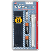 Mini Maglite M2A10H Combination Water Resistant Flashlight, 3 VDC, Incandescent, Krypton, 5.15 hr
