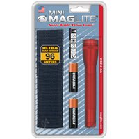 MAGLITE SM2A03H 14-Lumen Mini MAGLITE Flashlight with Holster (Red)